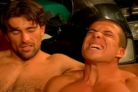 Muscled Biker guys coarse And raw plow Feast gay orgy