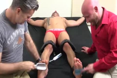 A Super kinky Or Trot Bald guy With Ink receives A painfully Tickle Session