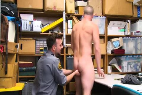 Shoplifting guy Takes dick Up His butt And Down His throat