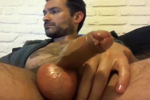 Oiled Up Daddy likes To wank Himself Off