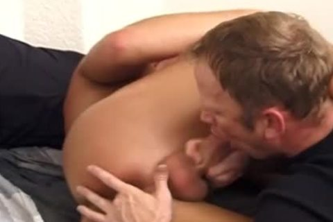 stylish brunette hair receives His dick Sucked Off By A ally